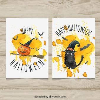 검은 고양이와 호박 수채화 카드