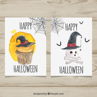 Watercolor cards wtih skull and cupcake