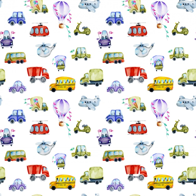 Watercolor cars and air transport seamless pattern