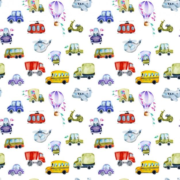 水彩車と航空輸送のシームレスパターン