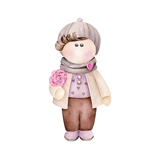 Watercolor cartoon boy with flower isolated on white