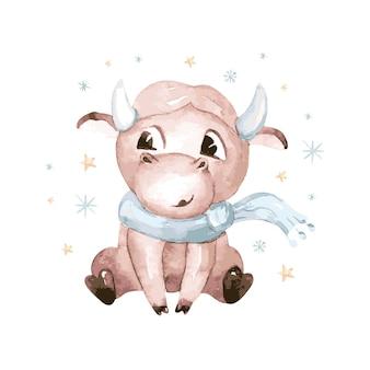 Акварельные иллюстрации шаржа быка. символ 2021 года. забавный и милый бык. рождественские иллюстрации.