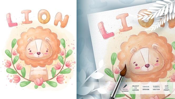 水彩漫画のキャラクター動物ライオン