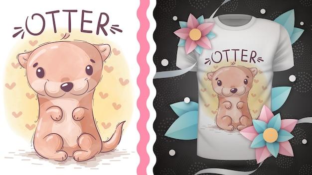 인쇄 tshirt 손 그리기에 대한 수채화 만화 캐릭터 동물 수달 아이디어