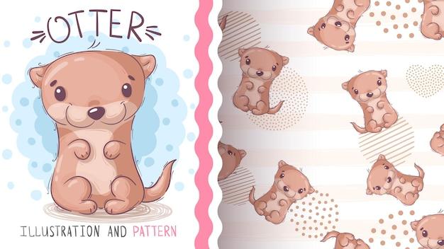 수채화 만화 캐릭터 동물 수달 원활한 패턴