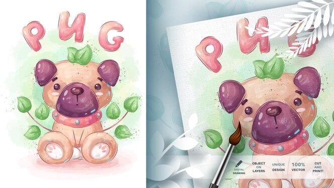 水彩漫画のキャラクターかわいい犬