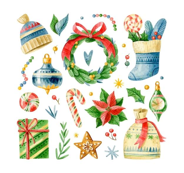 Акварельный мультяшный рождественский набор новогодняя коллекция элементов