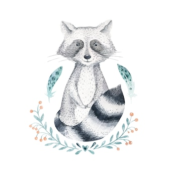Watercolor cartoon cute baby raccoon vector animal with flowers.