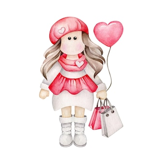Акварель мультяшная девушка с воздушным шаром в форме сердца и сумками