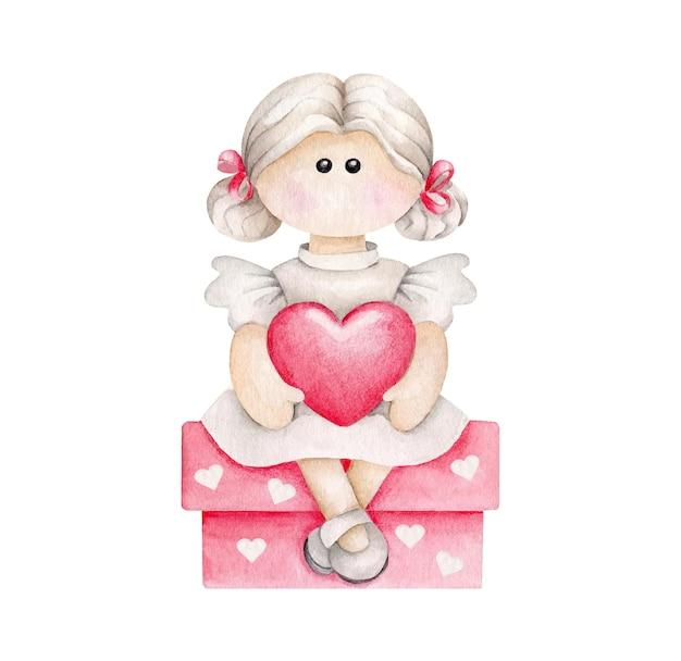 Акварельный мультфильм девочка с сердцем, сидя на подарочной коробке