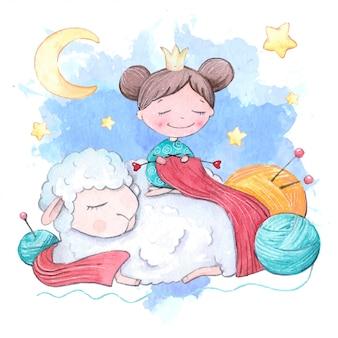 Акварельная мультипликационная девочка с вязкой и овечкой