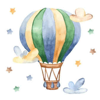 Watercolor cartoon hot-air balloon, clouds and stars