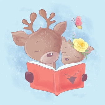 Watercolor cartoon illustration of a cute deer dad and daughter are reading a book