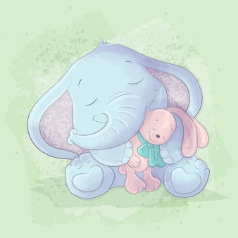 Watercolor cartoon illustration of a cute elephant with a rabbit toy