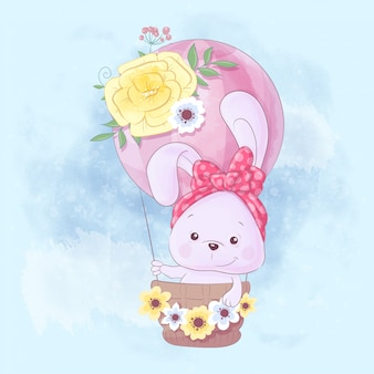 Watercolor cartoon illustration of a cute rabbit in a balloon
