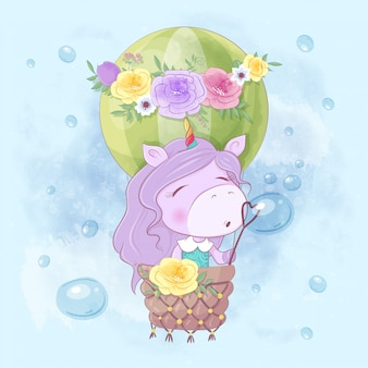 Watercolor cartoon illustration of a cute unicorn girl in a balloon