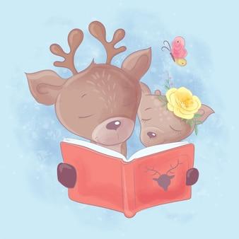 かわいい鹿のお父さんと娘の水彩漫画イラストは本を読んでいます。