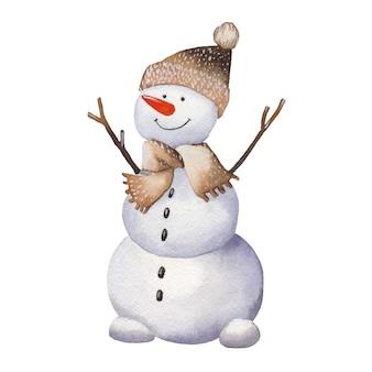 Watercolor cartoon snowman