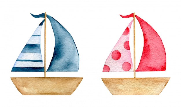 Watercolor cartoon summer paper boat toys set isolated