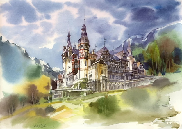 Watercolor castle in the mountains at night scene
