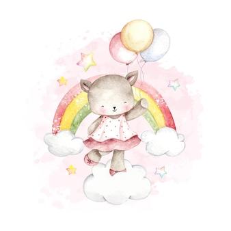 Акварельный кот и воздушный шар и радуга