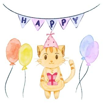 水彩猫-誕生日パーティー