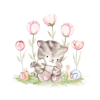 Watercolor cat with snail and flower