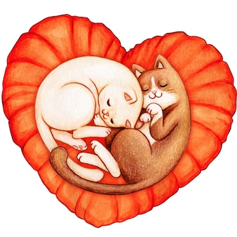 Watercolor cats sleeping on a heart pillow top view
