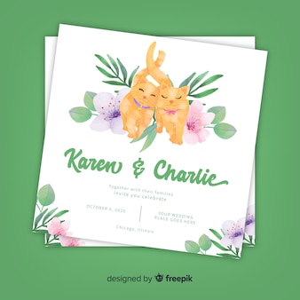 Watercolor cats wedding invitation template