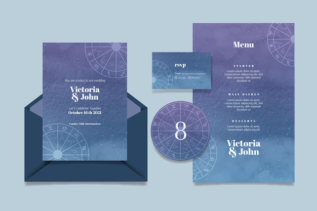 Watercolor celestial wedding stationery collection