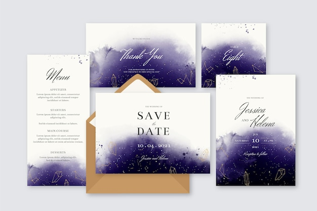 Watercolor celestial wedding stationery set Free Vector