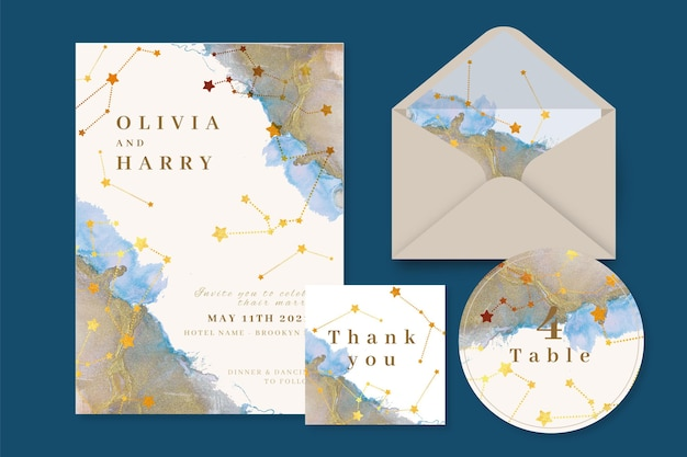 Watercolor celestial wedding stationery set