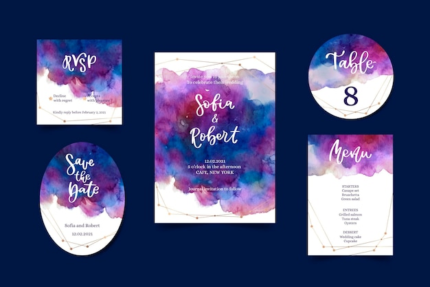 Watercolor celestial wedding stationery