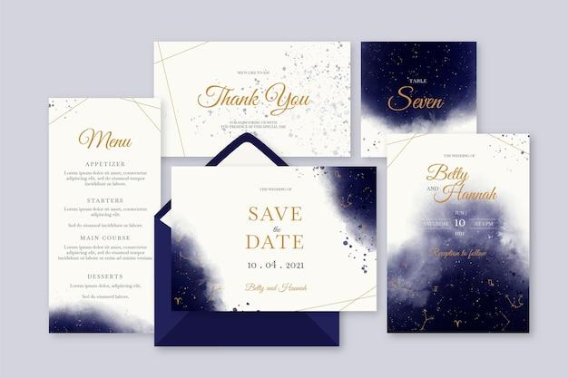 수채화 천체 결혼식 편지지