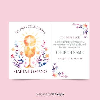 Watercolor chalice first communion invitation