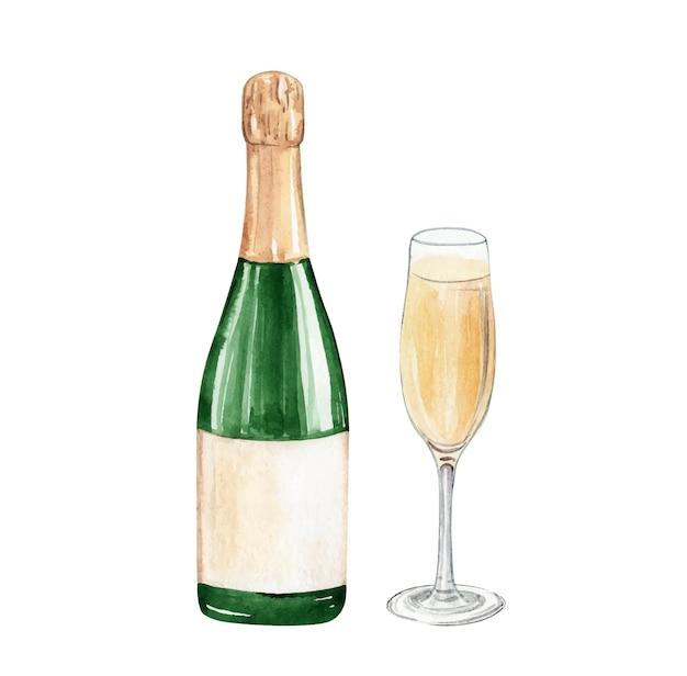 Бутылка шампанского акварель и бокал, изолированные на белом фоне