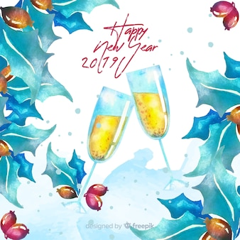 Watercolor champagne new year background