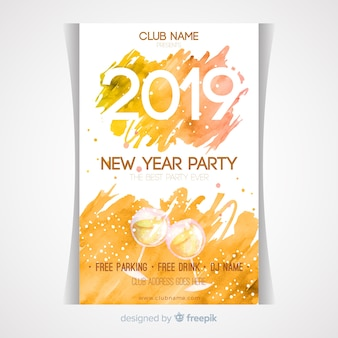 Watercolor champagne new year party poster