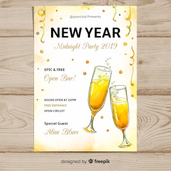 Watercolor champagne new year poster