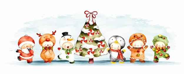 クリスマスツリーと水彩のキャラクターコスチューム