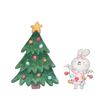 Watercolor character cute bunny decorates christmas tree with garland of colorfull light bulbs