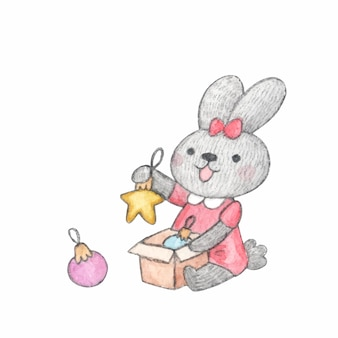 Watercolor character cute bunny playing with christmas toys