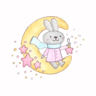 Watercolor character cute bunny sitting on the moon with christmas toy star