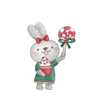 Watercolor character cute bunny with christmas candy and cake in her hands