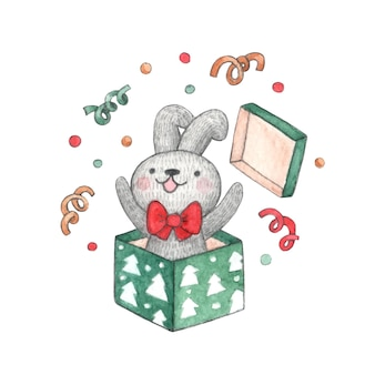 Watercolor character cute bunny with red bow jumps out of christmasgift box