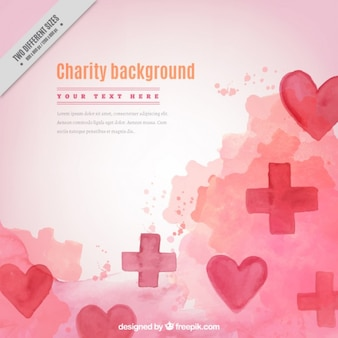 Watercolor charity background with hearts and crosses