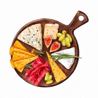 Tagliere per formaggi ad acquerello illustrato