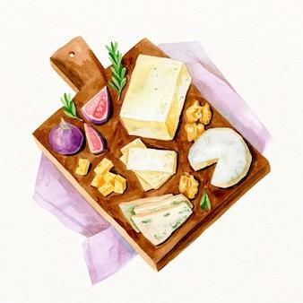 水彩チーズボードイラスト