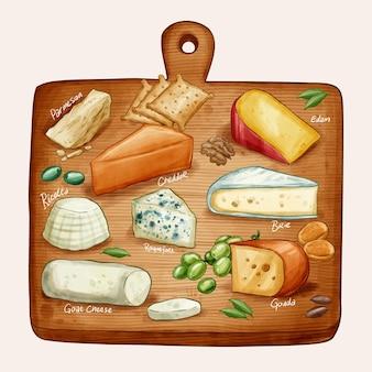 Акварельная иллюстрация доски сыра