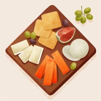 Illustrazione del bordo del formaggio dell'acquerello